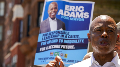 Democratic mayoral candidate Eric Adams speaks during a campaign event, Thursday, June 17, 2021, in the Harlem neighborhood of New York. (AP Photo/Mary Altaffer)